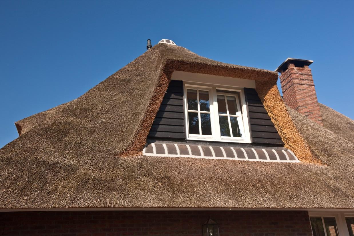 14. Rietgedekte villa bouwen, rietgedekt dakkapel met douglas delen