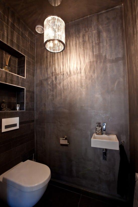 5. Rietgedekte villa bouwen, toilet, modern met sfeerlicht